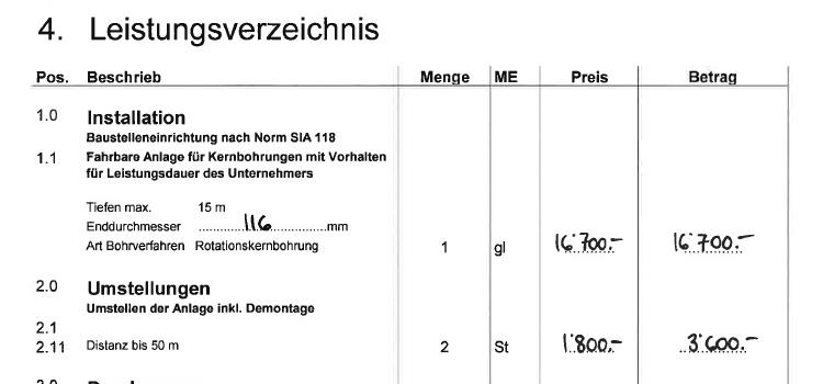 Leistungsverzeichniss Sondierbohrungen