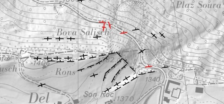 Karte mit geomorphologischer Kartierung in permanenten Rutschungen